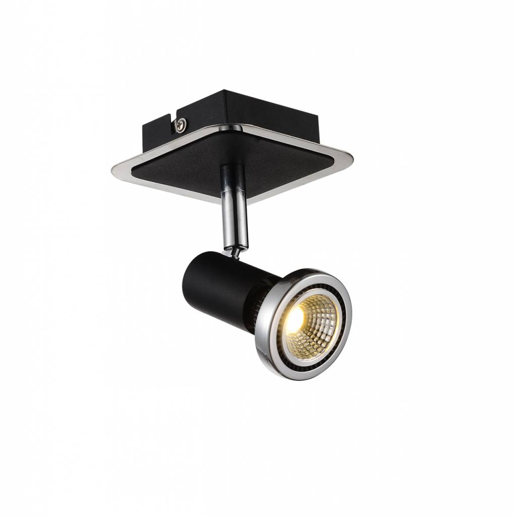 Ceiling light LED white/black/chrome/brushed steel 1xGU10 5W 105mm H