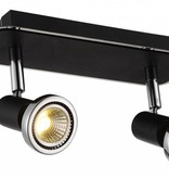 Plafondlamp LED wit/zwart/chroom/geborsteld staal 2xGU10 5W 105mm H