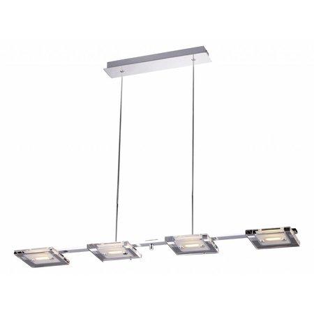 Pendant light glass LED chrome oblong 4x4W 945mm