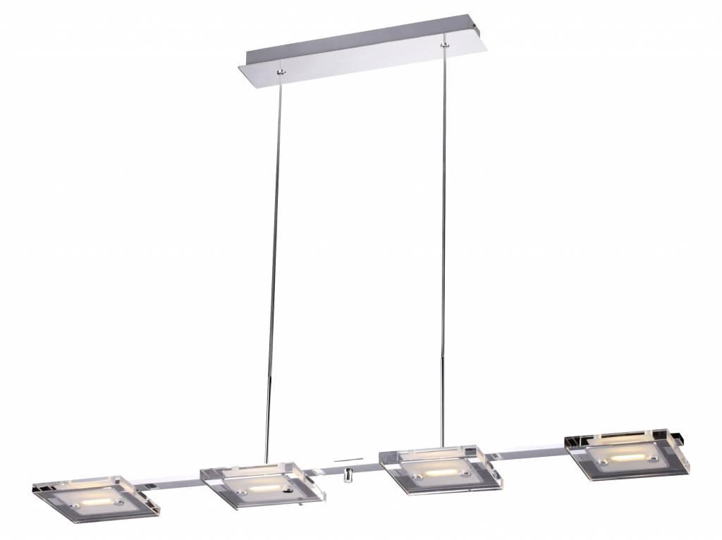 lustre moderne led verre chrom 4x4w 945mm long myplanetled. Black Bedroom Furniture Sets. Home Design Ideas