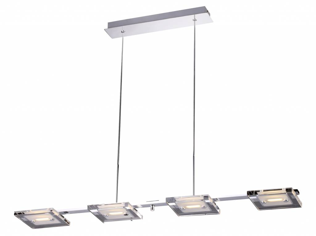 Pendant light glass LED chrome oblong 4x4W 945mm