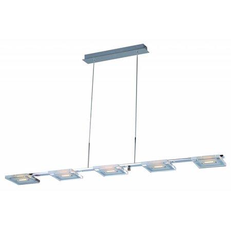 Hanglamp glas LED dimbaar lang chroom 5x4W 1210mm