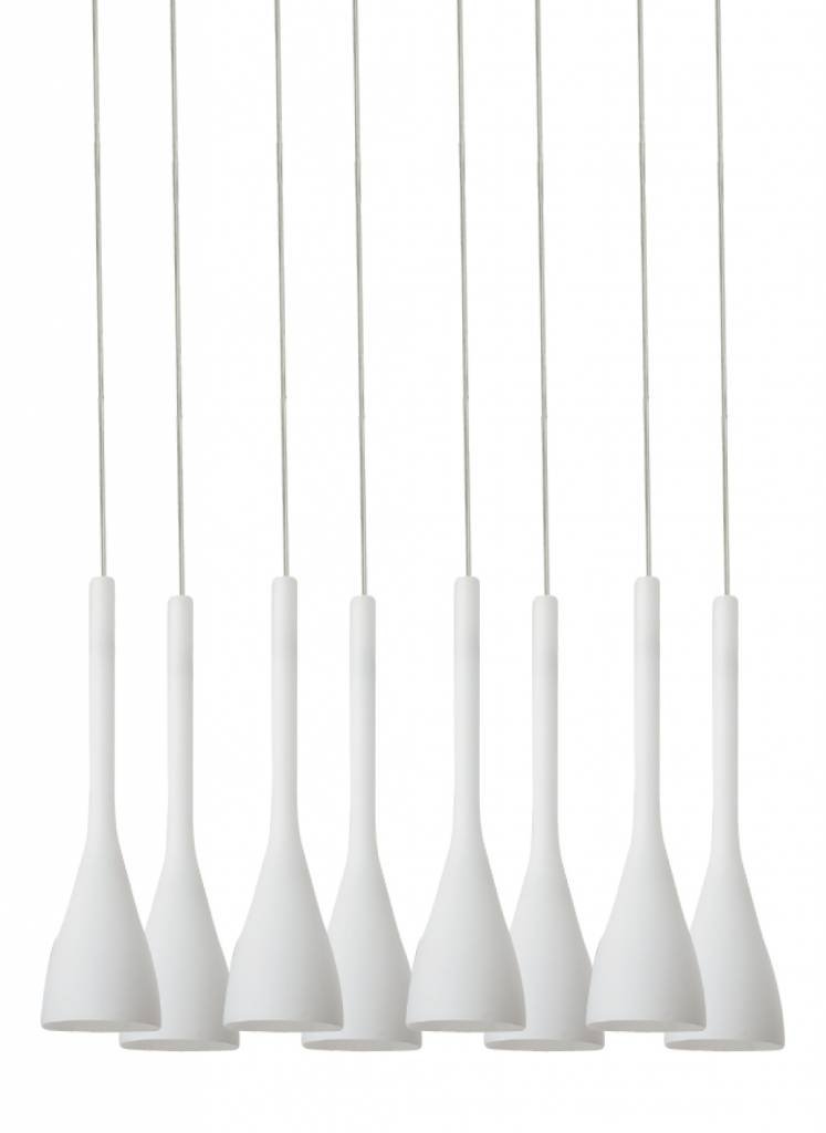 Pendant light glass white conic E14x8 580x270mm