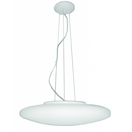 Pendant light glass white round 600mm wide 5xE27 1200mm high