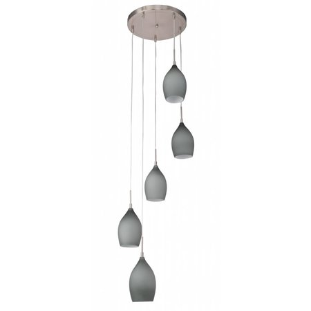 Hanglamp glas mat conisch 420mm diameter 5xE27