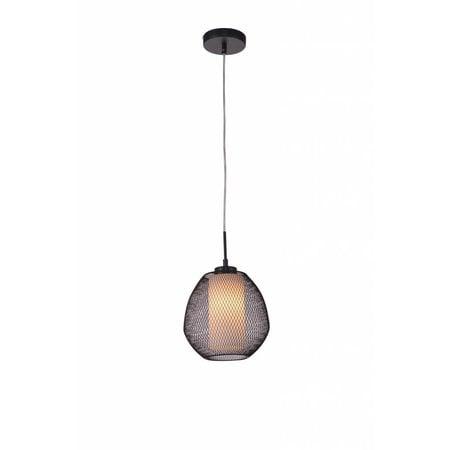 Pendant light glass black-white oval 1xE27