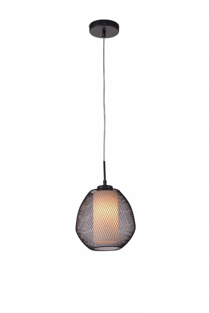 Luminaire suspendu noir blanc oval 1xe27 myplanetled for Lampe suspendu noir