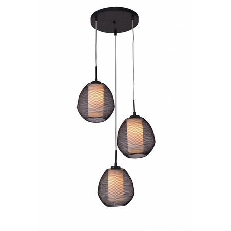 Luminaire suspendu verre noir-blanc oval E27x3 470mm diamètre