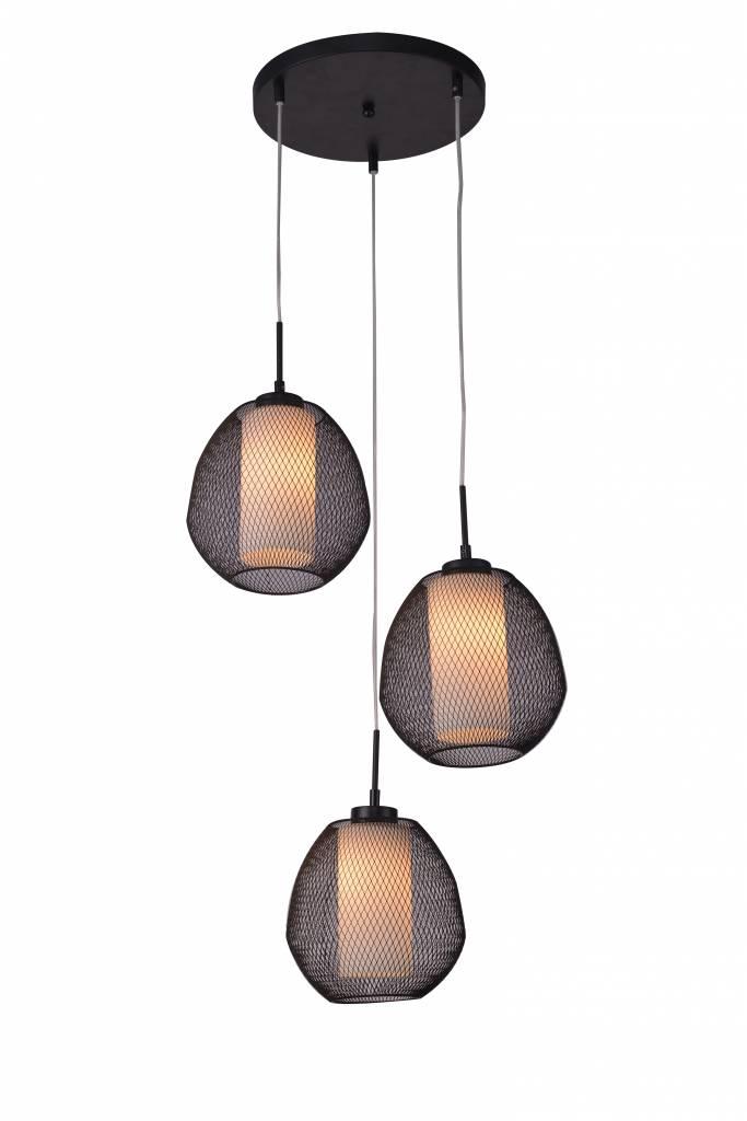 Luminaire suspendu verre noir blanc oval e27x3 470mm for Luminaire suspendu noir