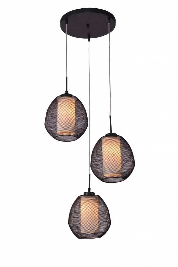 Pendant light glass black-white oval E27x3 470mm diameter