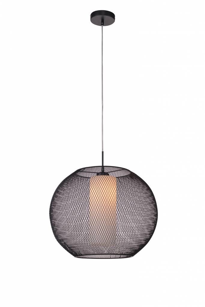 Luminaire suspendu verre noir blanc boule e27 diam tre for Luminaire suspension boule