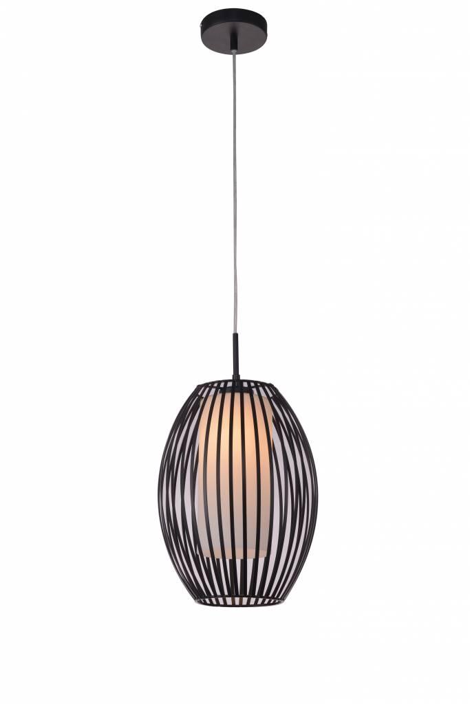 luminaire suspendu design noir blanc verre oval e27 diam tre 250mm myplanetled. Black Bedroom Furniture Sets. Home Design Ideas