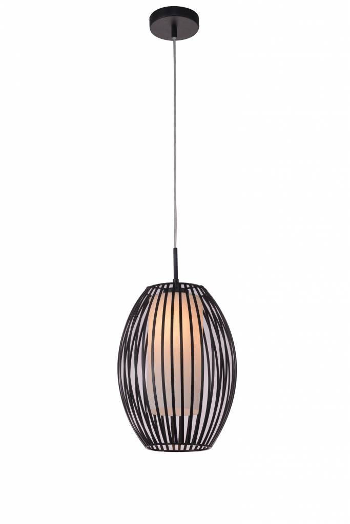 Pendant light glass black-white design oval E27 250mm diameter