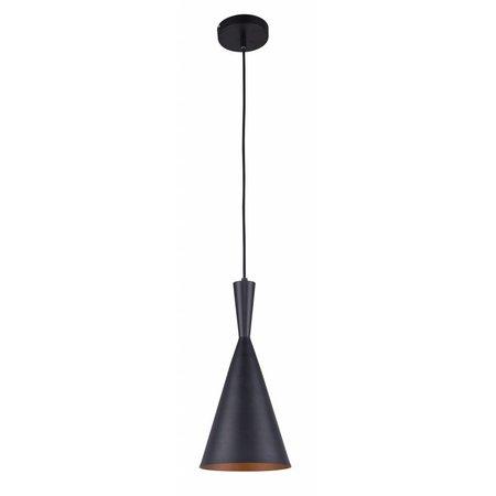 Hanglamp design conisch zwart-goud 1xE27 185mm diameter