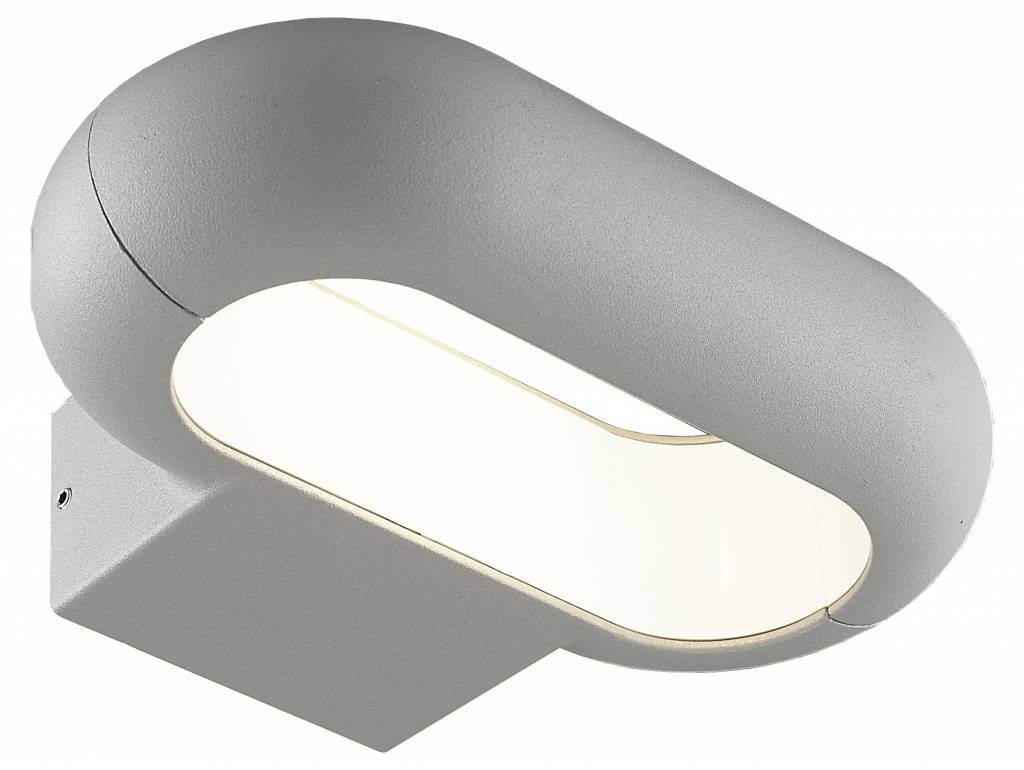 Outdoor wall light LED oval 5W silver or graphite IP54 220mm wide