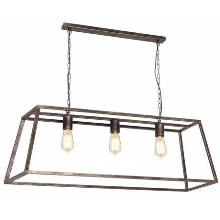 Luminaire suspendu noir ou rouille E27x3 1000mm long