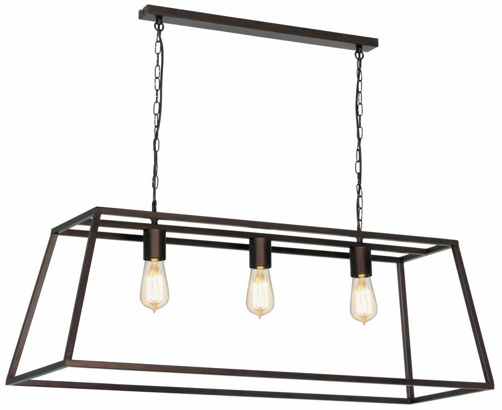 Luminaire suspendu noir ruggine cuivre e27x3 1000mm for Luminaire suspendu noir