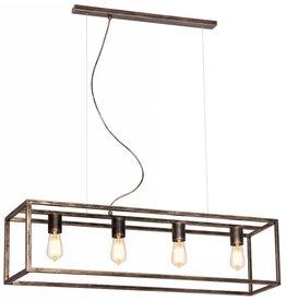 Hanglamp zwart of roest landelijk E27x4 1000mm lang