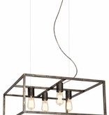 Pendant light black, rust, copper square rustic E27x4