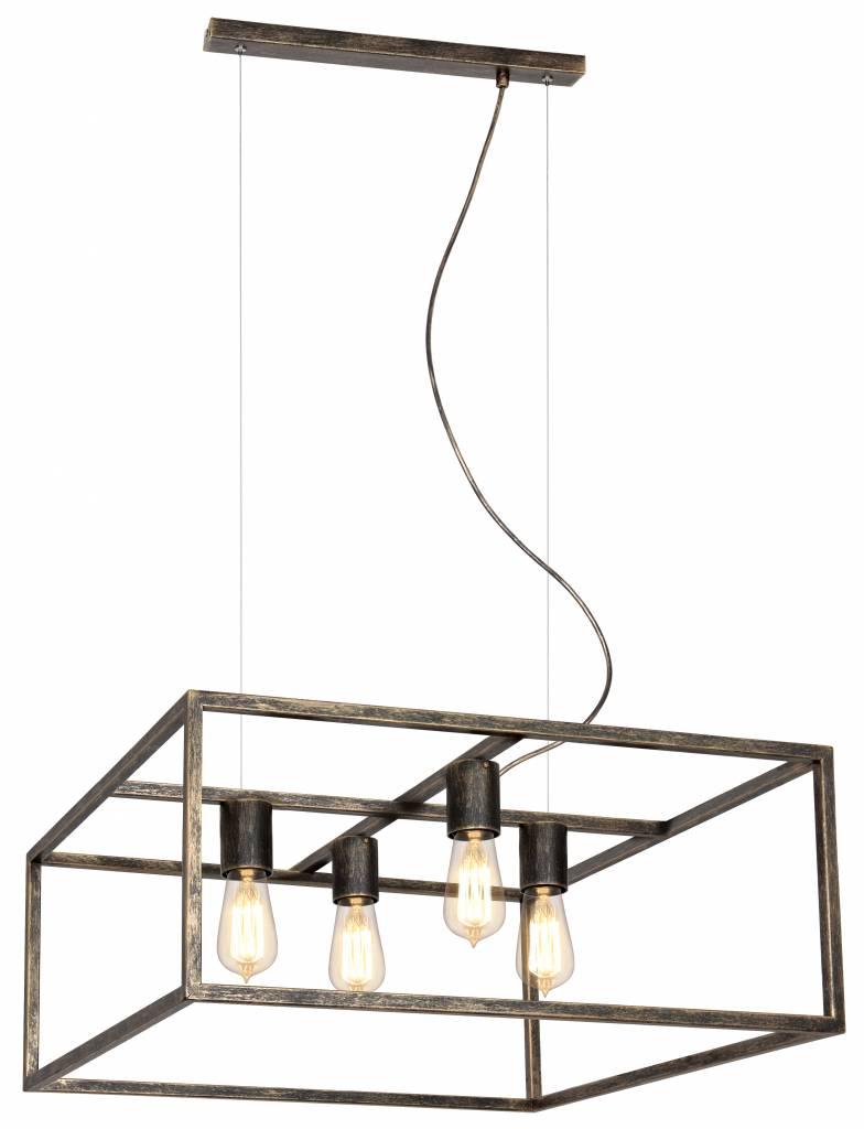 Hanglamp zwart, koper of roest vierkant landelijk E27x4 - Myplanetled