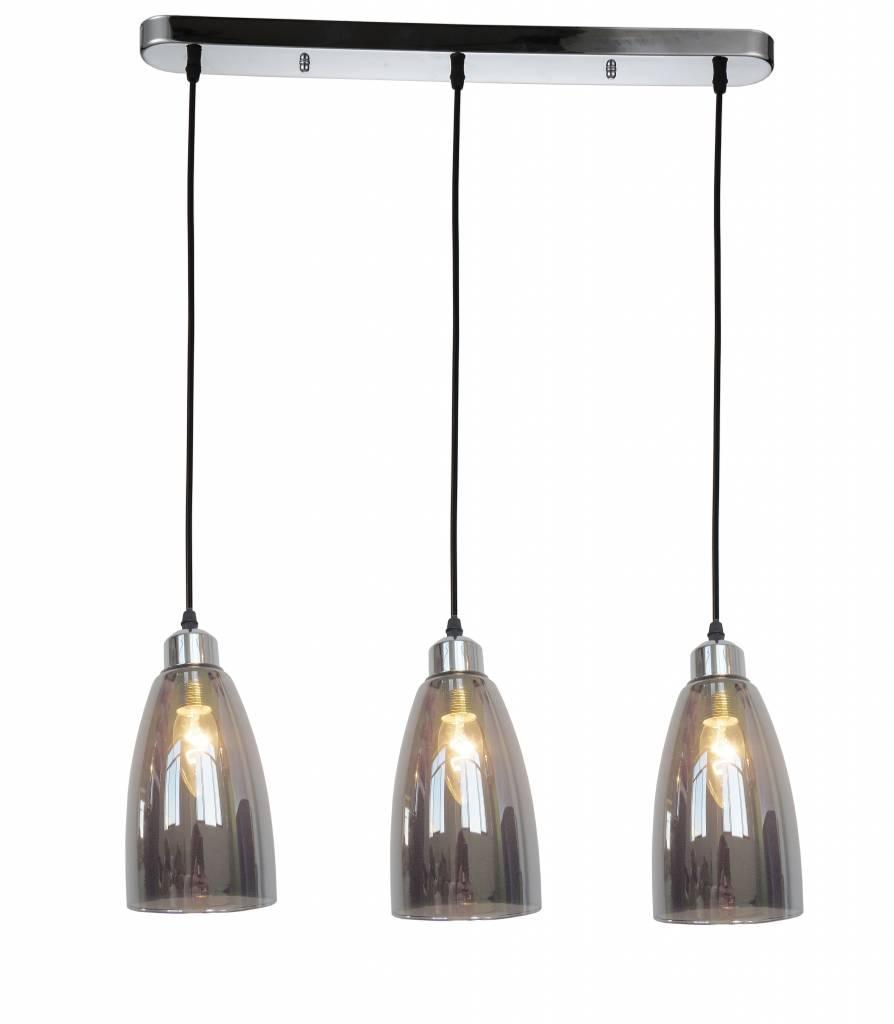 hanglamp glas grijs conisch 3xe14 1200mm hoog myplanetled. Black Bedroom Furniture Sets. Home Design Ideas
