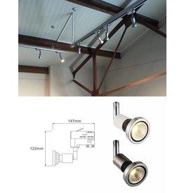 Railverlichting wit of zilver voor GU10 spot richtbaar