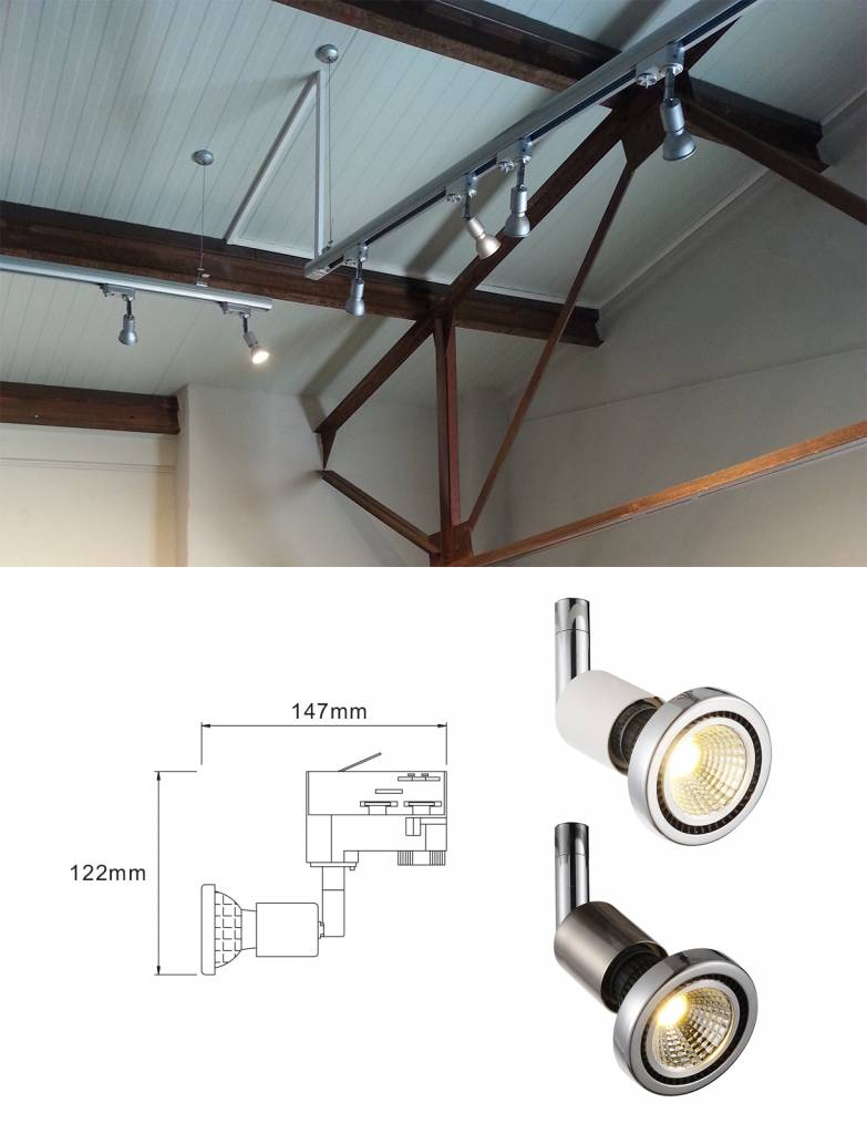 Track lighting GU10 white or silver for spot orientable