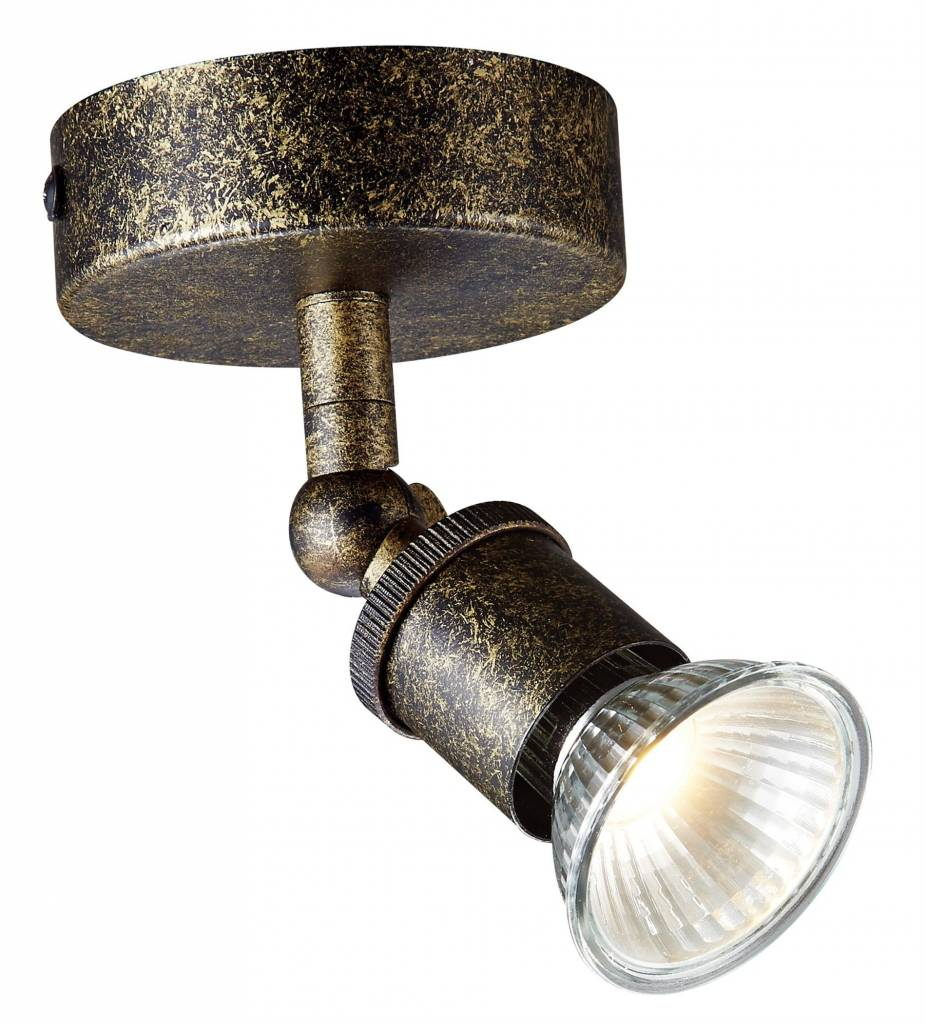 Ceiling light LED GU10 rust on rod with dimmable spot 5W
