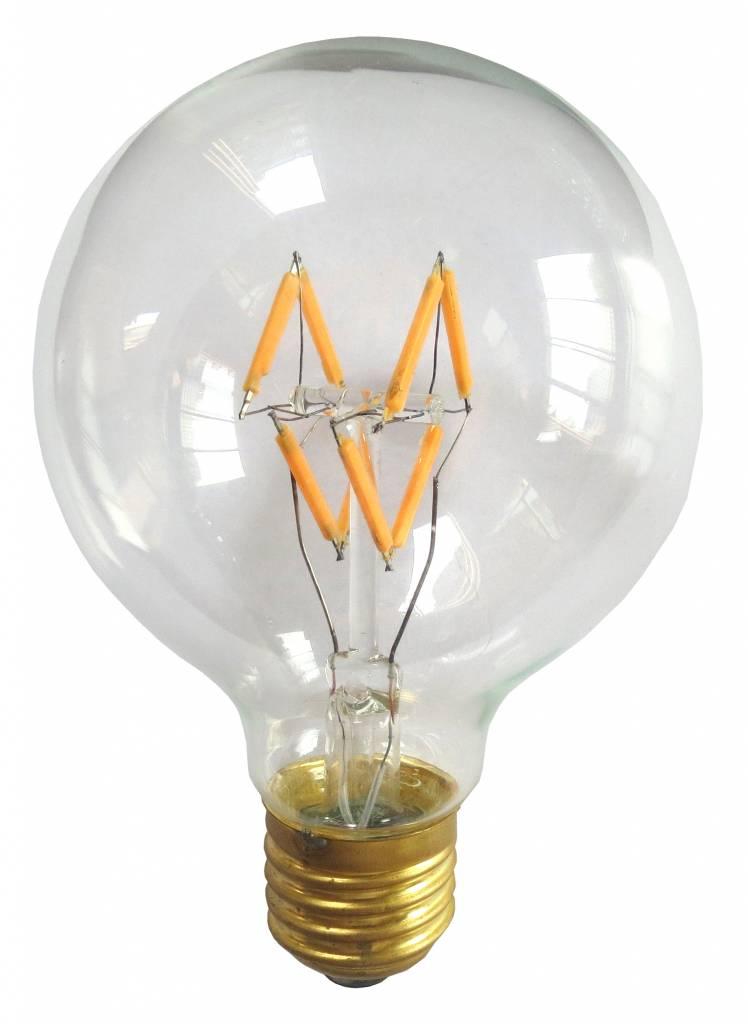 LED lamp E27 rond 4W filament dimbaar | Myplanetled
