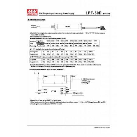 LED driver dimbaar Meanwell 0-60W 24V IP67