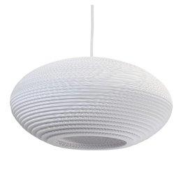 Pendant light design white-beige cardboard ellipse 42cm E27