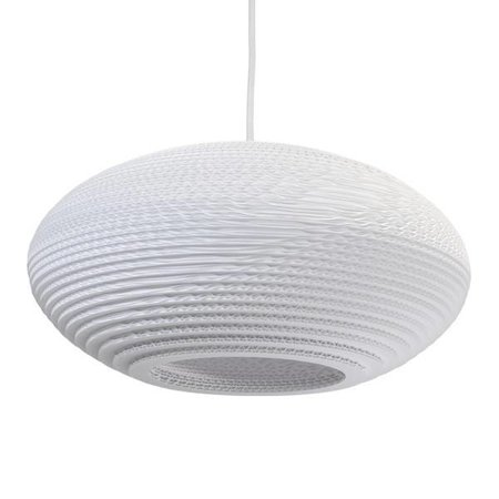 Pendant light design white-beige cardboard ellipse 42cm E27