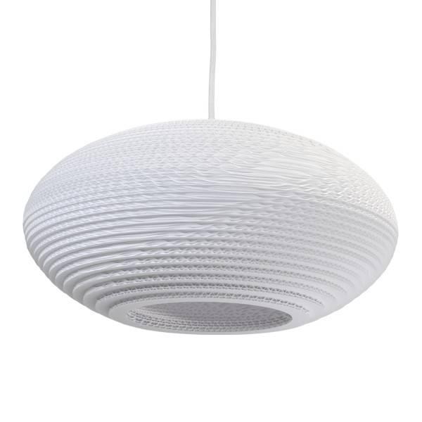 luminaire suspendu design blanc beige carton ellipse 42cm myplanetled. Black Bedroom Furniture Sets. Home Design Ideas