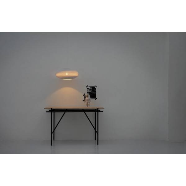luminaire suspendu design blanc beige carton ellipse 42cm myplanetled. Black Bedroom Furniture Sets. Home Design Ideas