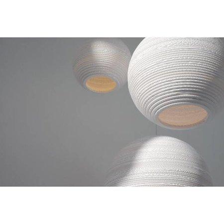 Luminaire suspendu boule blanc beige carton Ø 26cm E27