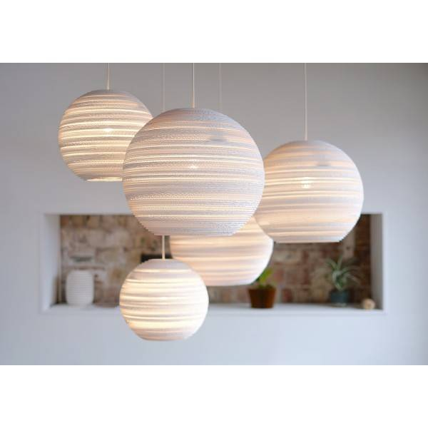 luminaire suspendu boule blanc beige carton 45cm e27 myplanetled. Black Bedroom Furniture Sets. Home Design Ideas