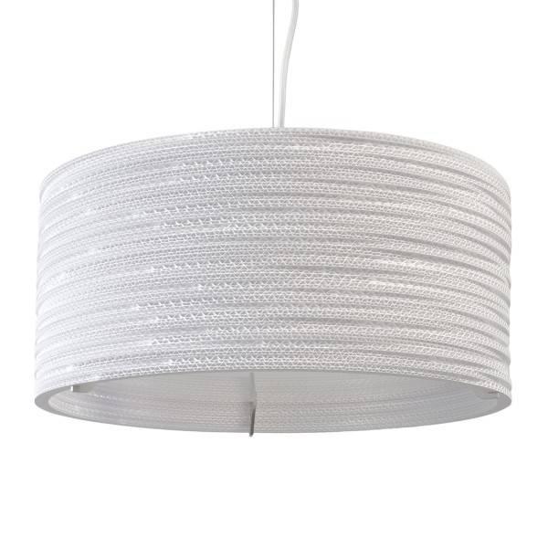 luminaire suspendu design 45cm blanc beige rond carton myplanetled. Black Bedroom Furniture Sets. Home Design Ideas