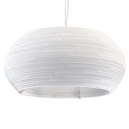 Pendant light design white-beige cardboard ellipse Ø 82cm