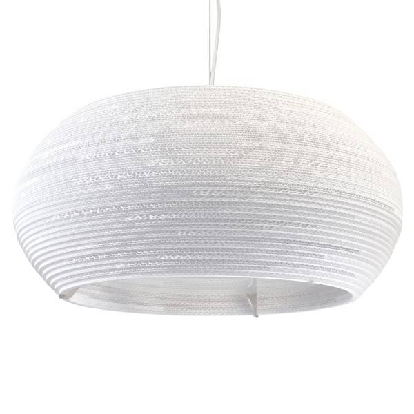 Luminaire suspendu design blanc beige carton ellipse for Luminaire suspendu blanc