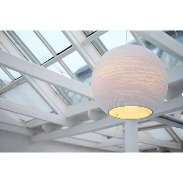 Luminaire Suspendu Boule Design Blanc Beige Carton ø 82cm Myplanetled