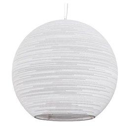 Pendant light design white, beige big bulb cardboard Ø 82cm