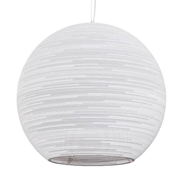 Luminaire suspendu boule design blanc beige carton 82cm for Suspension osier design