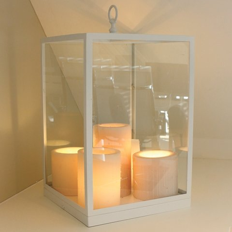 Table lamp glass rustic LED design 5 candles 450mm high