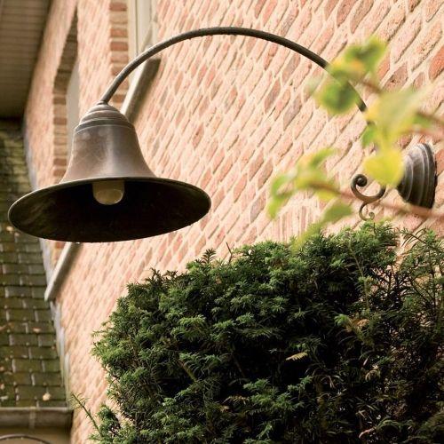 Outdoor wall light rural bronze curve E27 85cm deep