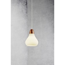 Hanglamp koper, staal glas peer E27 160mm Ø