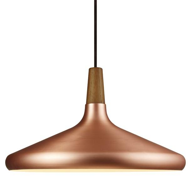 Pendant light grey or copper conic E27 390mm Ø