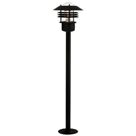 Tuinpaal zwart-gegalvaniseerd-inox E27 IP54 glas 920mm hoog