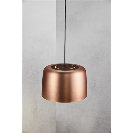 Pendant light copper-black round E27 310mm diameter