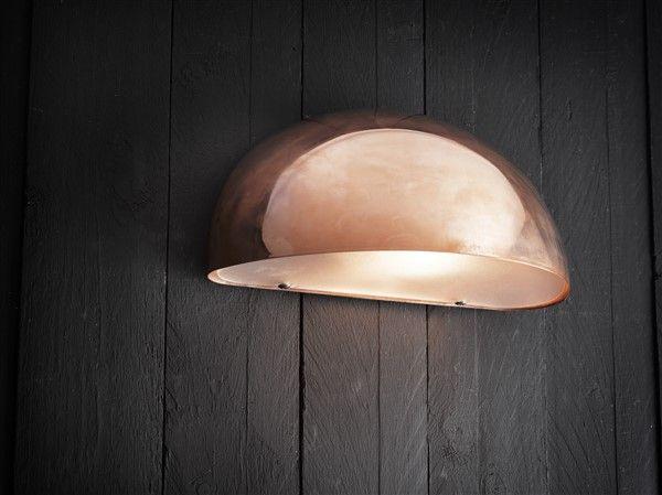 Outdoor wall light copper-black-white-galvanized sphere