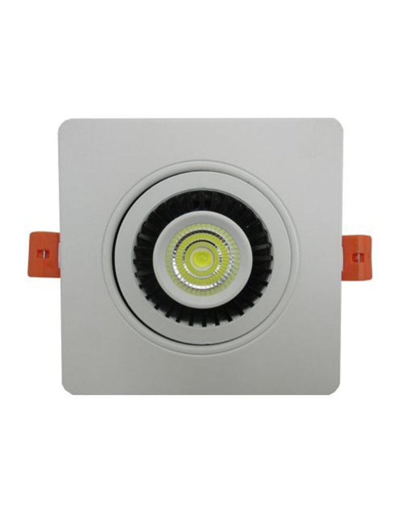 Downlight 90mm cut out LED 7W 360° white round or square